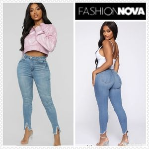FASHION NOVA Sexy Stretch Jeans ripped cuff Sz 30…